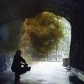 Il fumo in galleria: Nevio riempie la galleria di fumo per una ripresa suggestiva... Carnia '44, foto di scena - Smoke in tunnel: Nevio filled the tunnel with smoke for a suggestive shooting... Carnia '44, set picture