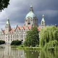 Il Rathaus, municipio, di Hannover e il lago Maschteich - The Rathaus, the town hall in Hannover and the Maschteich lake