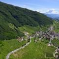 Veduta aerea di Santo Stefano di Valdobbiadene e delle colline del prosecco - Aerial view of Santo Stefano di Valdobbiadene and Prosecco hills